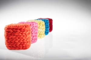 Coloured wool top cubes - in line on angle